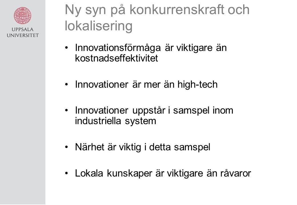 Ny syn på konkurrenskraft och lokalisering Innovationsförmåga är viktigare än kostnadseffektivitet Innovationer är mer än high-tech Innovationer uppstår i samspel inom industriella system Närhet är viktig i detta samspel Lokala kunskaper är viktigare än råvaror
