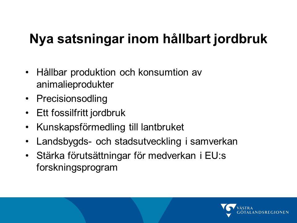 Nya satsningar inom hållbart jordbruk Hållbar produktion och konsumtion av animalieprodukter Precisionsodling Ett fossilfritt jordbruk Kunskapsförmedling till lantbruket Landsbygds- och stadsutveckling i samverkan Stärka förutsättningar för medverkan i EU:s forskningsprogram