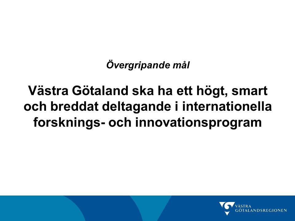 Övergripande mål Västra Götaland ska ha ett högt, smart och breddat deltagande i internationella forsknings- och innovationsprogram