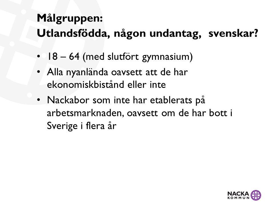 Målgruppen: Utlandsfödda, någon undantag, svenskar? 18 – 64 (med slutfört gymnasium) Alla nyanlända oavsett att de har ekonomiskbistånd eller inte Nac