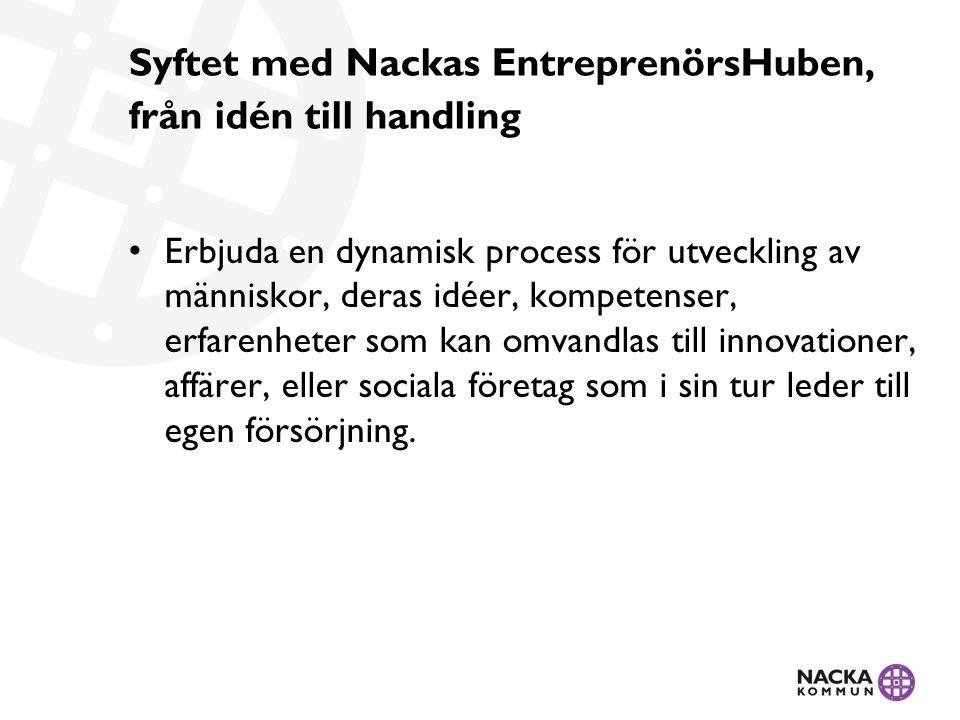 Syftet med Nackas EntreprenörsHuben, från idén till handling Erbjuda en dynamisk process för utveckling av människor, deras idéer, kompetenser, erfarenheter som kan omvandlas till innovationer, affärer, eller sociala företag som i sin tur leder till egen försörjning.