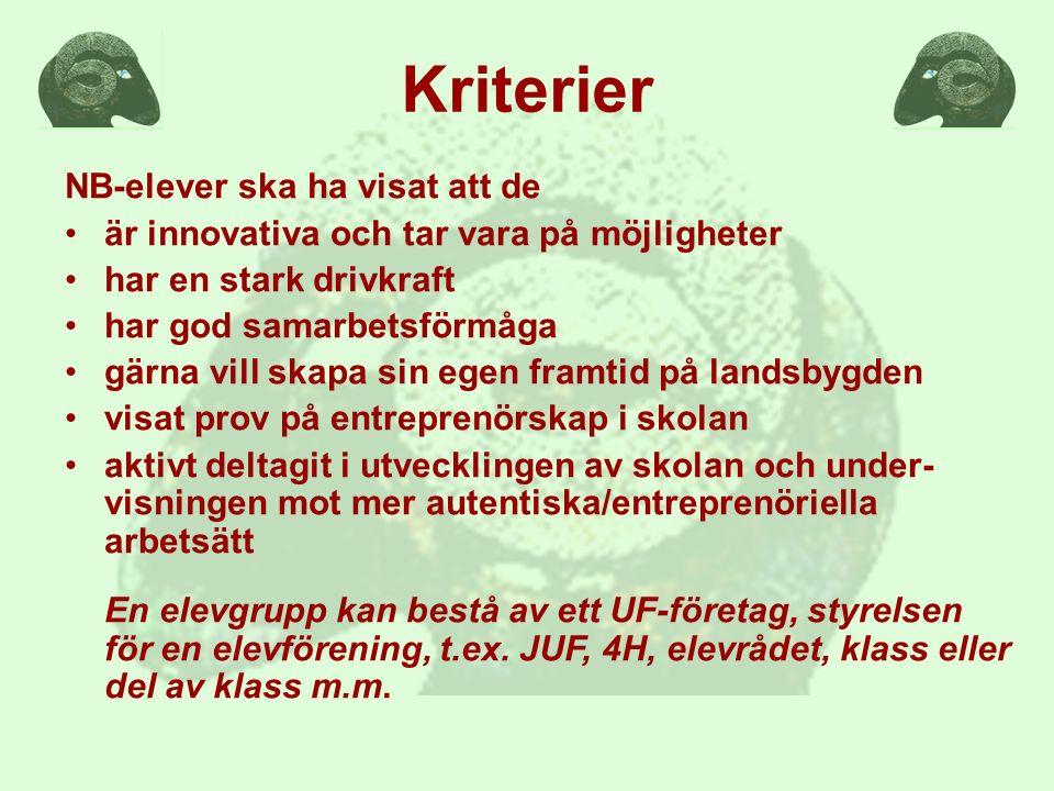 De nominerade är Djurgänget 13J Stora Segerstad Naturbrukscentrum En djurintresserad och kunskapssökande elevgrupp som tagit initiativ till nya studiebesök och APL-platser.