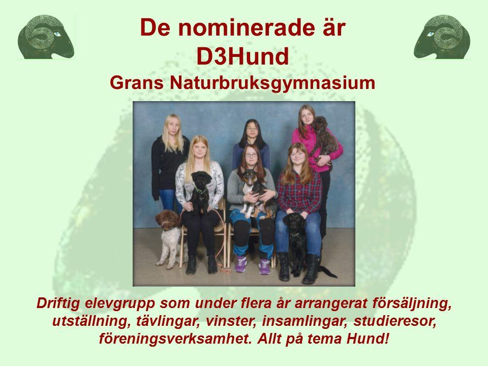 De nominerade är  M&N's Lantbrukssmide UF, Bollerup Naturbruksgymnasium  KlappaInteMig UF, Djurgymnasiet Stockholm  Hundspa UF, Gamlebygymnasiet  D3Hund, Grans Naturbruksgymnasium  Djurvård åk 2, Ingelstorpsgymnasiet  Jellis trim & kloklipp UF, Jällagymnasiet  JA Foderhäckar UF, Lillerudsgymnasiet  StrawberryJoy UF, Munkagårdsgymnasiet  Mer-Event UF, Naturbruksgymnasiet Osby  Djurgänget 13J, Stora Segerstad Naturbrukscentrum  Hästsko UF, Ridsportgymnasiet Strömsholm  A Feast for Goats UF, Tenhults Naturbruksgymnasium  Havregryn UF, Vretagymnasiet  Timberstore UF, Älvdalens Utbildningscentrum