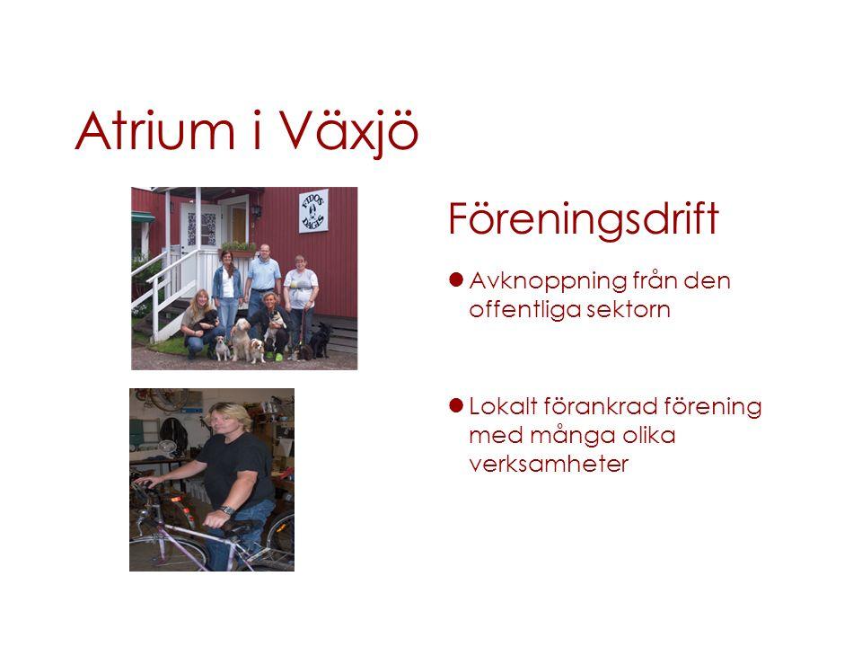 Atrium i Växjö Föreningsdrift Avknoppning från den offentliga sektorn Lokalt förankrad förening med många olika verksamheter