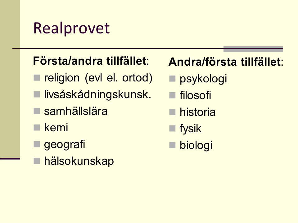 Realprovet Första/andra tillfället: religion (evl el.