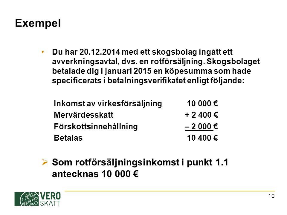 Exempel Du har 20.12.2014 med ett skogsbolag ingått ett avverkningsavtal, dvs.