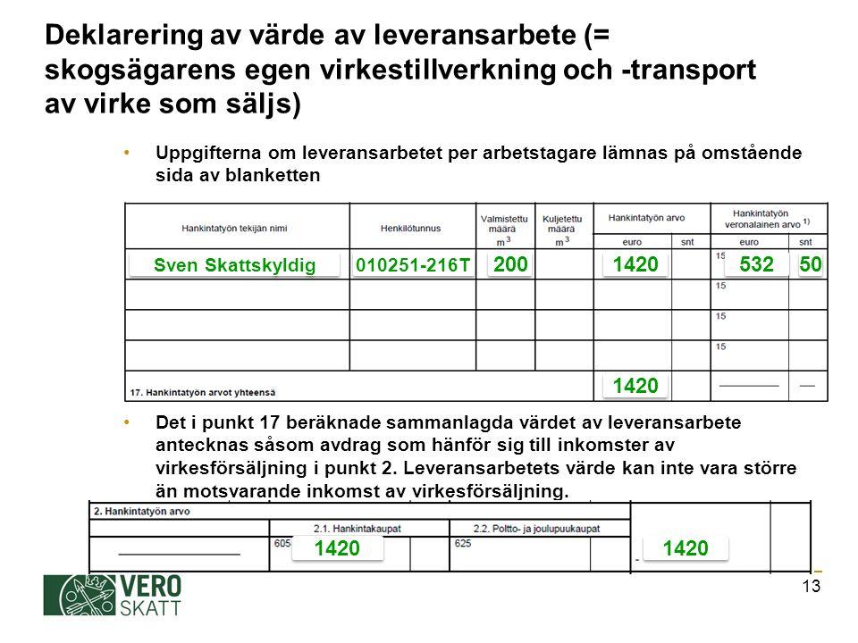 Deklarering av värde av leveransarbete (= skogsägarens egen virkestillverkning och -transport av virke som säljs) Uppgifterna om leveransarbetet per arbetstagare lämnas på omstående sida av blanketten Det i punkt 17 beräknade sammanlagda värdet av leveransarbete antecknas såsom avdrag som hänför sig till inkomster av virkesförsäljning i punkt 2.
