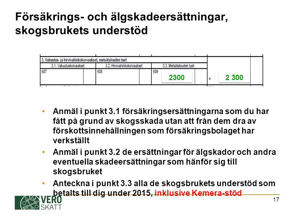 Försäkrings- och älgskadeersättningar, skogsbrukets understöd Anmäl i punkt 3.1 försäkringsersättningarna som du har fått på grund av skogsskada utan att från dem dra av förskottsinnehållningen som försäkringsbolaget har verkställt Anmäl i punkt 3.2 de ersättningar för älgskador och andra eventuella skadeersättningar som hänför sig till skogsbruket Anteckna i punkt 3.3 alla de skogsbrukets understöd som betalts till dig under 2015, inklusive Kemera-stöd 17 2300