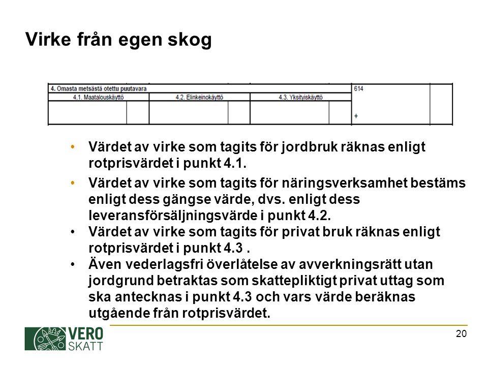 Virke från egen skog Värdet av virke som tagits för jordbruk räknas enligt rotprisvärdet i punkt 4.1.