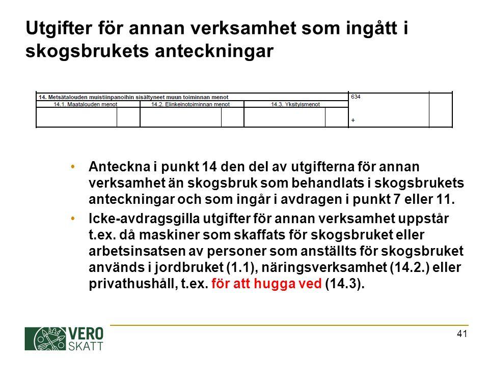 Utgifter för annan verksamhet som ingått i skogsbrukets anteckningar Anteckna i punkt 14 den del av utgifterna för annan verksamhet än skogsbruk som behandlats i skogsbrukets anteckningar och som ingår i avdragen i punkt 7 eller 11.