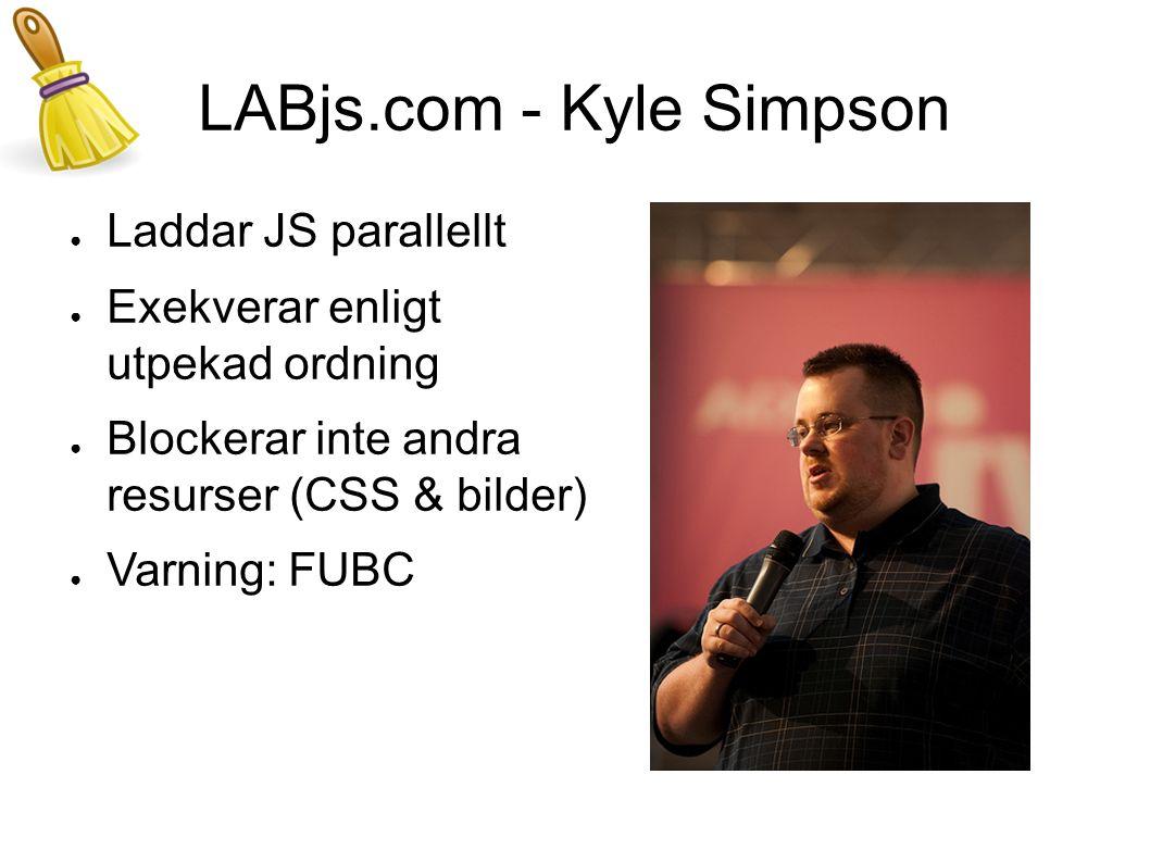 LABjs.com - Kyle Simpson ● Laddar JS parallellt ● Exekverar enligt utpekad ordning ● Blockerar inte andra resurser (CSS & bilder) ● Varning: FUBC