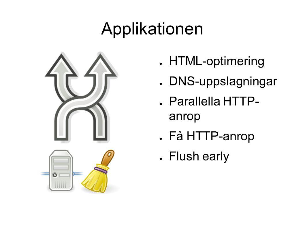 Applikationen ● HTML-optimering ● DNS-uppslagningar ● Parallella HTTP- anrop ● Få HTTP-anrop ● Flush early
