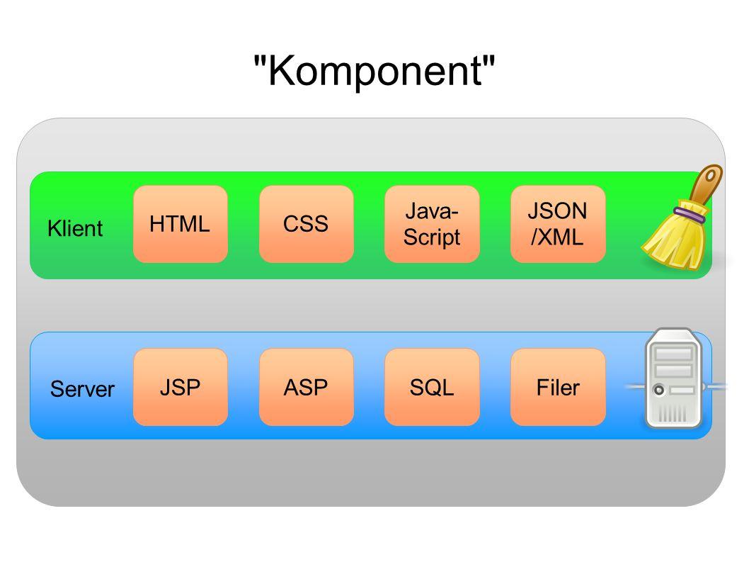Klient Server JSPASPJSPSQLFiler JSPCSSHTML Java- Script JSON /XML Komponent