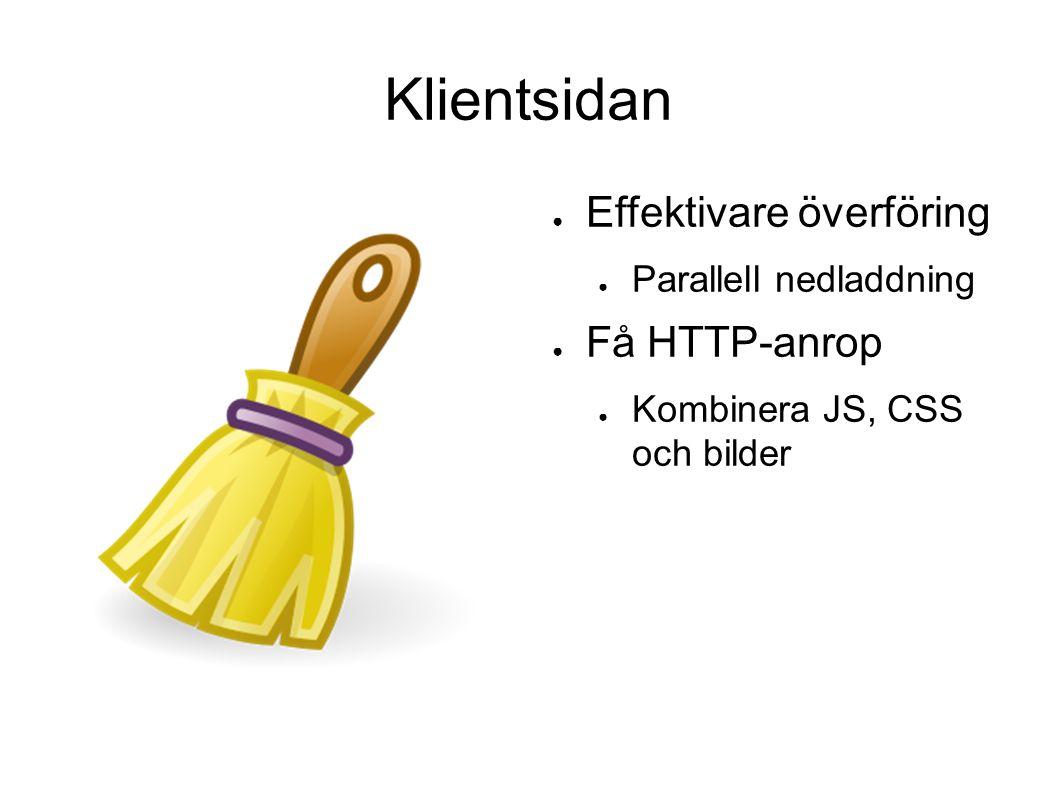 Klientsidan ● Effektivare överföring ● Parallell nedladdning ● Få HTTP-anrop ● Kombinera JS, CSS och bilder