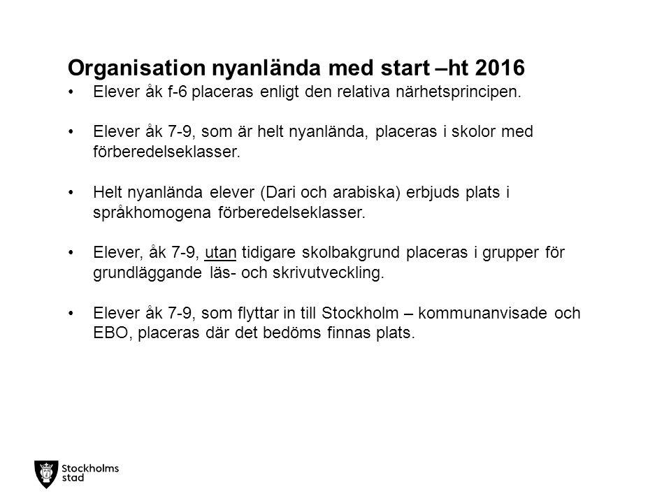 Organisation nyanlända med start –ht 2016 Elever åk f-6 placeras enligt den relativa närhetsprincipen.