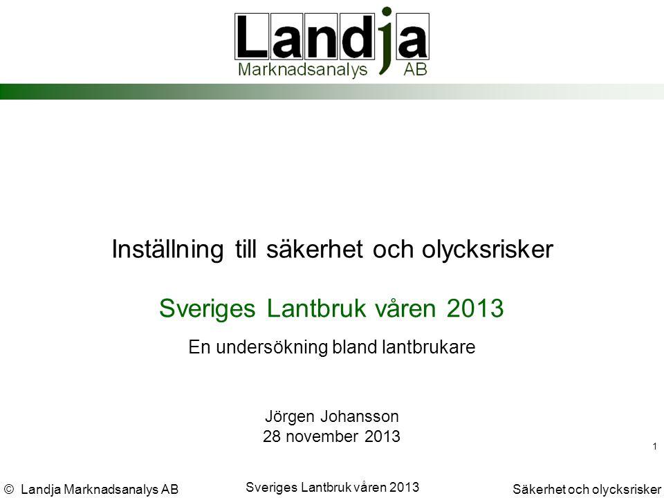 © Landja Marknadsanalys ABSäkerhet och olycksrisker Sveriges Lantbruk våren 2013 22 Jörgen Johansson jorgen.johansson@landja.se Slut.