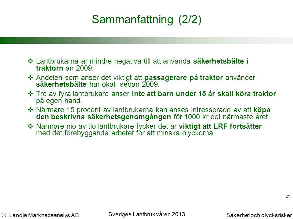 © Landja Marknadsanalys ABSäkerhet och olycksrisker Sveriges Lantbruk våren 2013 21 Sammanfattning (2/2)  Lantbrukarna är mindre negativa till att använda säkerhetsbälte i traktorn än 2009.