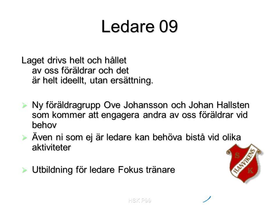 HSK P99 Ledare 09 Laget drivs helt och hållet av oss föräldrar och det är helt ideellt, utan ersättning.  Ny föräldragrupp Ove Johansson och Johan Ha