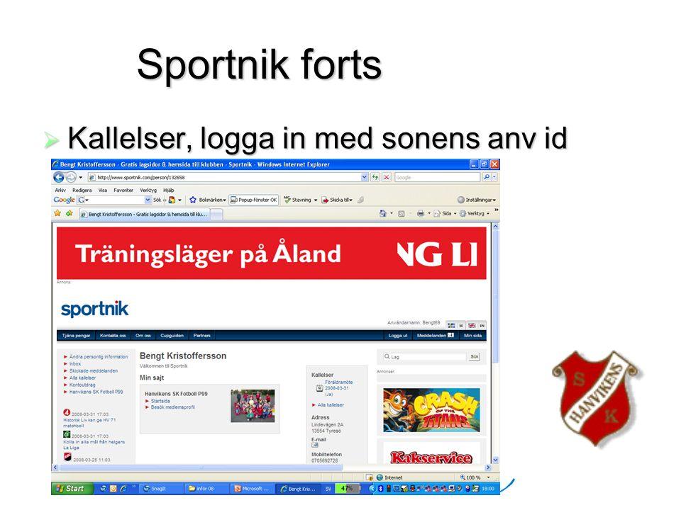 HSK P99 Sportnik forts  Kallelser, logga in med sonens anv id