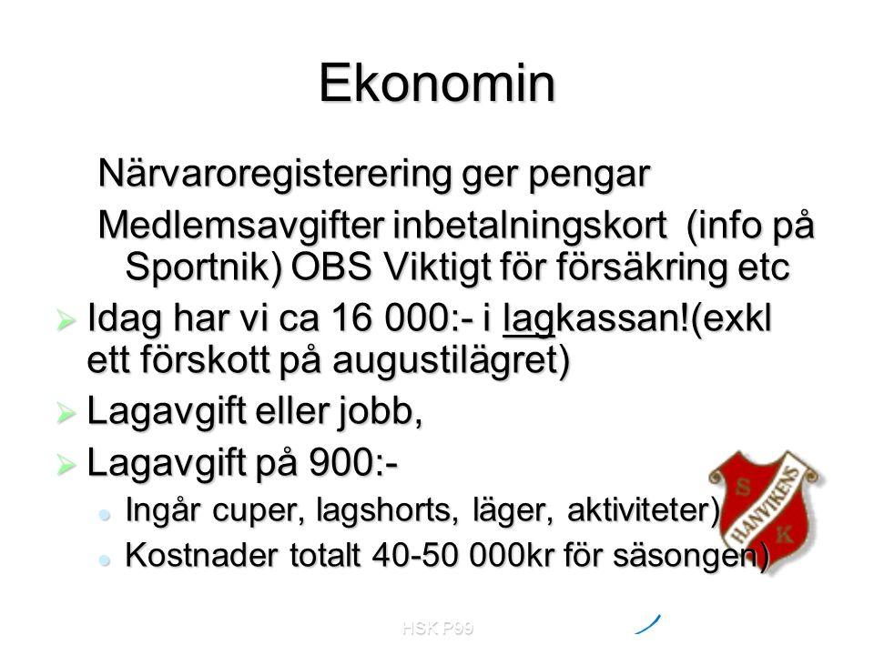 HSK P99 Ekonomin Närvaroregisterering ger pengar Medlemsavgifter inbetalningskort (info på Sportnik) OBS Viktigt för försäkring etc  Idag har vi ca 1