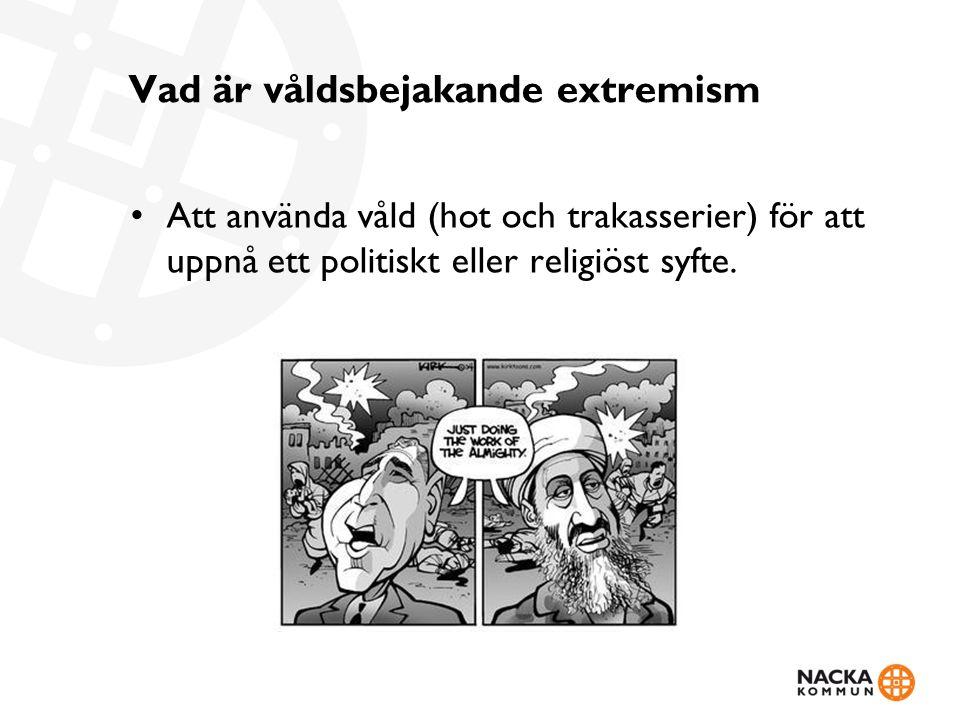 Vad är våldsbejakande extremism Att använda våld (hot och trakasserier) för att uppnå ett politiskt eller religiöst syfte.