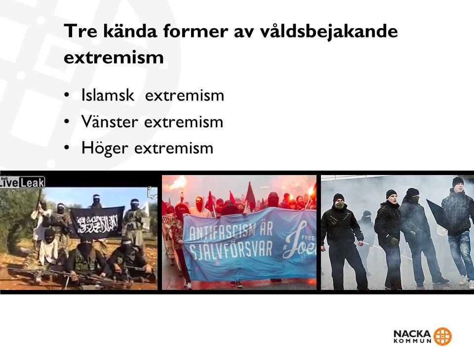 Tre kända former av våldsbejakande extremism Islamsk extremism Vänster extremism Höger extremism