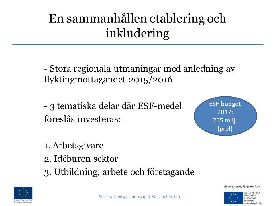 En sammanhållen etablering och inkludering Strukturfondspartnerskapet Stockholms län - Stora regionala utmaningar med anledning av flyktingmottagandet 2015/2016 - 3 tematiska delar där ESF-medel föreslås investeras: 1.