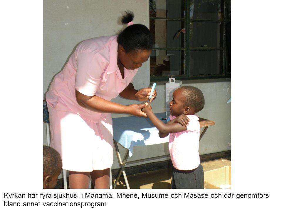 Kyrkan har fyra sjukhus, i Manama, Mnene, Musume och Masase och där genomförs bland annat vaccinationsprogram.