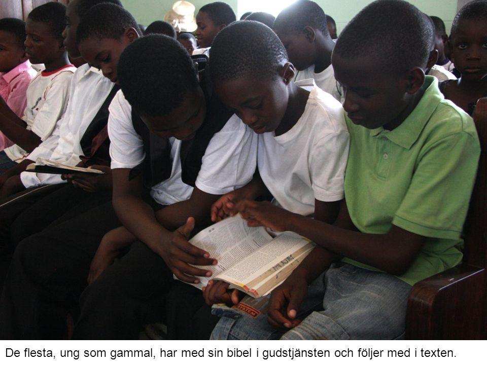 De flesta, ung som gammal, har med sin bibel i gudstjänsten och följer med i texten.