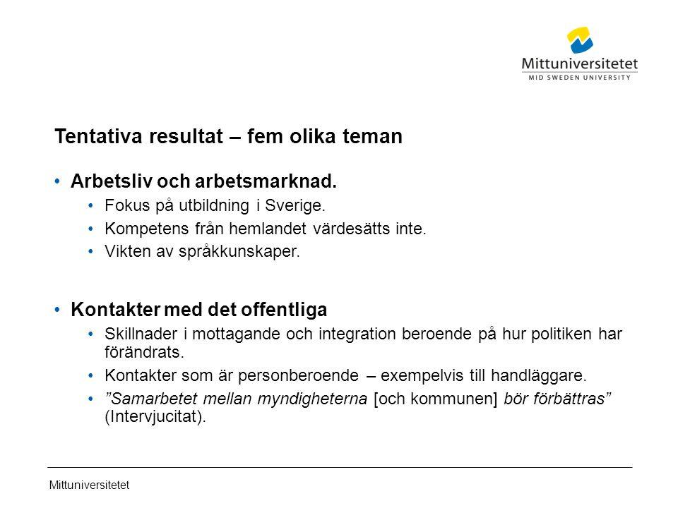Mittuniversitetet Tentativa resultat – fem olika teman Arbetsliv och arbetsmarknad.