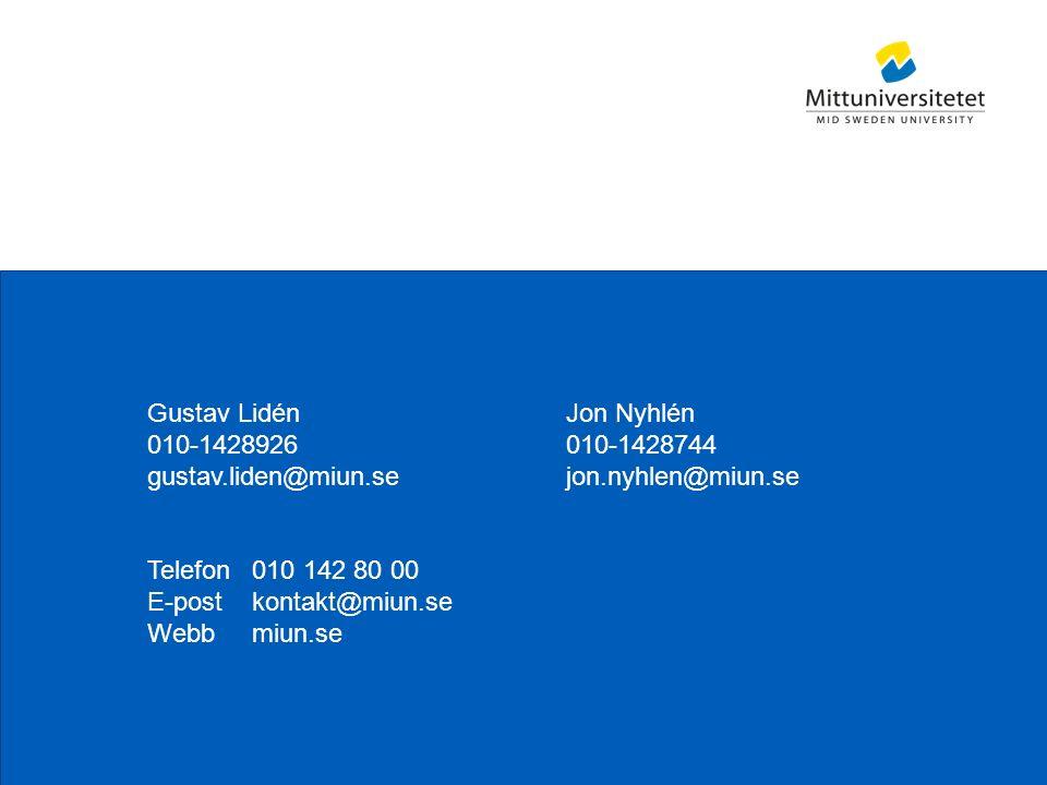 Mittuniversitetet Gustav LidénJon Nyhlén 010-1428926010-1428744 gustav.liden@miun.sejon.nyhlen@miun.se Telefon010 142 80 00 E-postkontakt@miun.se Webbmiun.se