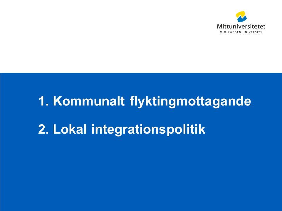 Mittuniversitetet 1. Kommunalt flyktingmottagande 2. Lokal integrationspolitik