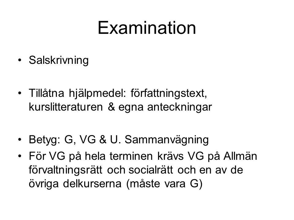Examination Salskrivning Tillåtna hjälpmedel: författningstext, kurslitteraturen & egna anteckningar Betyg: G, VG & U.