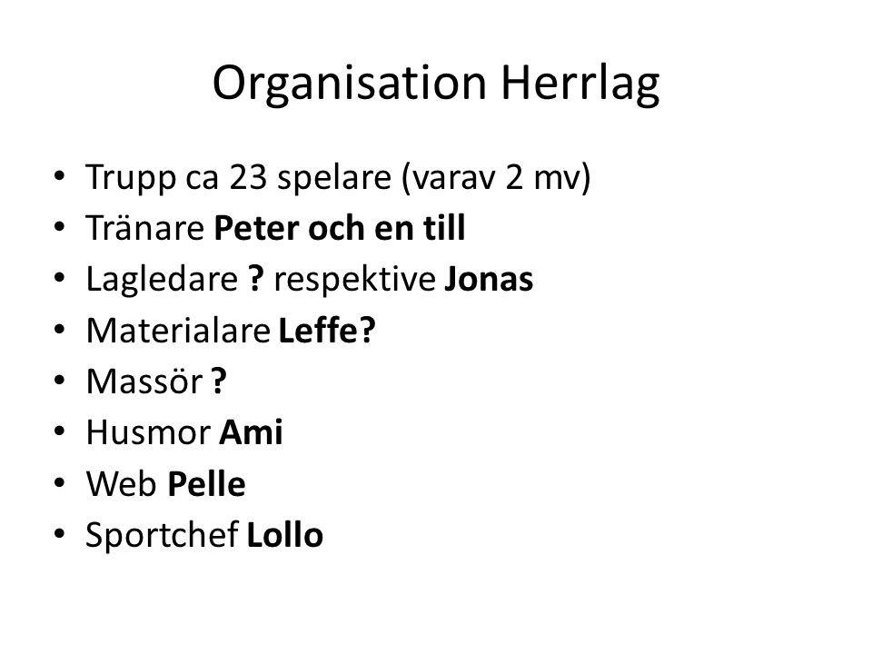 Organisation Herrlag Trupp ca 23 spelare (varav 2 mv) Tränare Peter och en till Lagledare .