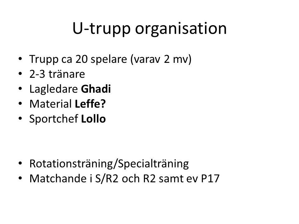 U-trupp organisation Trupp ca 20 spelare (varav 2 mv) 2-3 tränare Lagledare Ghadi Material Leffe.