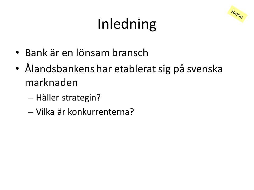 Inledning Bank är en lönsam bransch Ålandsbankens har etablerat sig på svenska marknaden – Håller strategin.