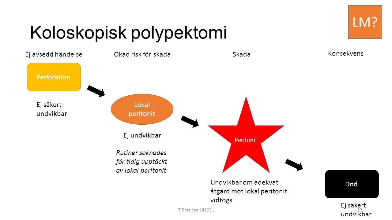 Koloskopisk polypektomi Perforation Lokal peritonit Peritonit Död Ej säkert undvikbar Ej undvikbar Ej avsedd händelseÖkad risk för skadaSkada Konsekve