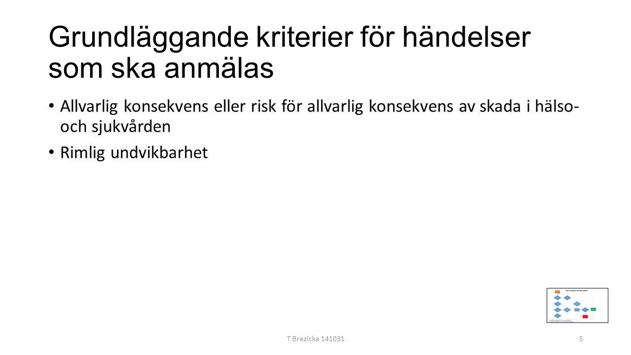 Grundläggande kriterier för händelser som ska anmälas Allvarlig konsekvens eller risk för allvarlig konsekvens av skada i hälso- och sjukvården Rimlig undvikbarhet T Brezicka 1410315