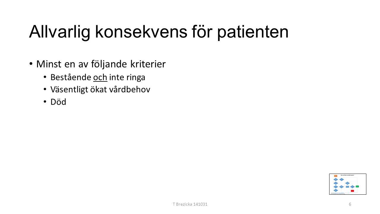 Allvarlig konsekvens för patienten Minst en av följande kriterier Bestående och inte ringa Väsentligt ökat vårdbehov Död T Brezicka 1410316