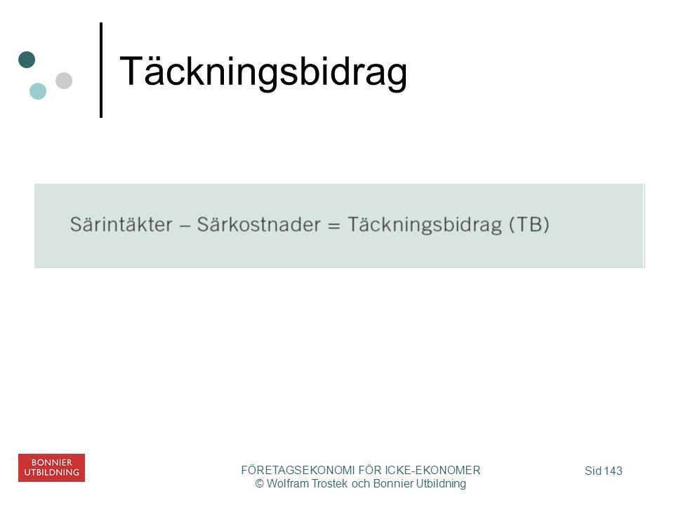 Sid 143 FÖRETAGSEKONOMI FÖR ICKE-EKONOMER © Wolfram Trostek och Bonnier Utbildning Täckningsbidrag