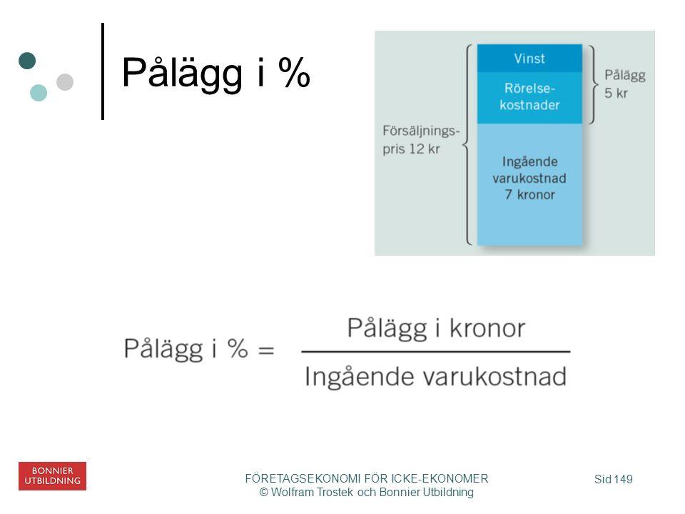 Sid 149 FÖRETAGSEKONOMI FÖR ICKE-EKONOMER © Wolfram Trostek och Bonnier Utbildning Pålägg i %