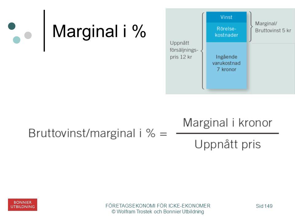 Sid 149 FÖRETAGSEKONOMI FÖR ICKE-EKONOMER © Wolfram Trostek och Bonnier Utbildning Marginal i %