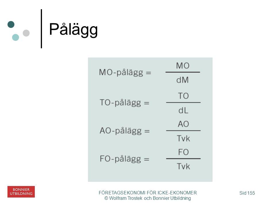 Sid 155 FÖRETAGSEKONOMI FÖR ICKE-EKONOMER © Wolfram Trostek och Bonnier Utbildning Pålägg