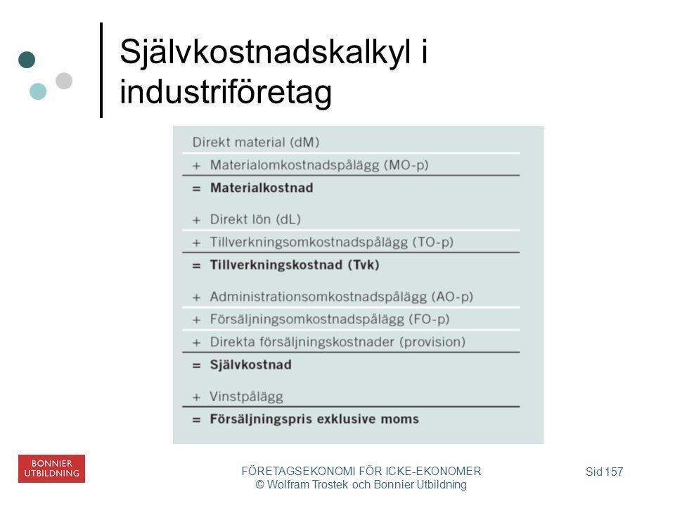 Sid 157 FÖRETAGSEKONOMI FÖR ICKE-EKONOMER © Wolfram Trostek och Bonnier Utbildning Självkostnadskalkyl i industriföretag