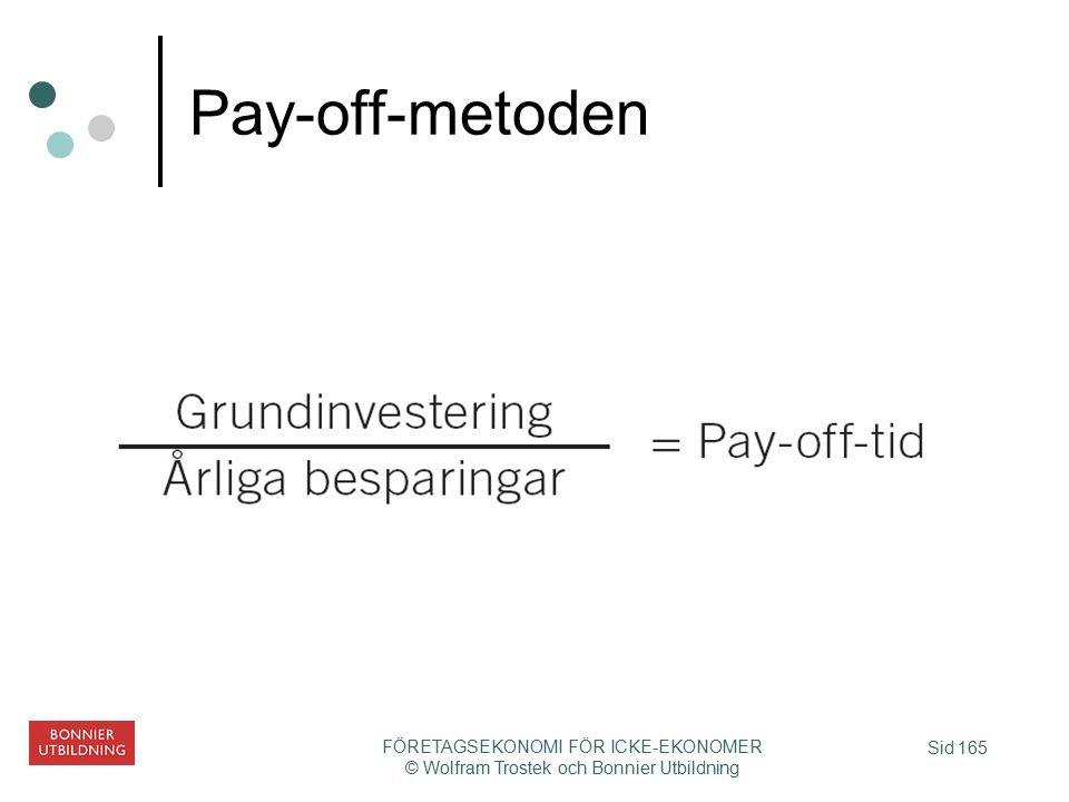 Sid 165 FÖRETAGSEKONOMI FÖR ICKE-EKONOMER © Wolfram Trostek och Bonnier Utbildning Pay-off-metoden
