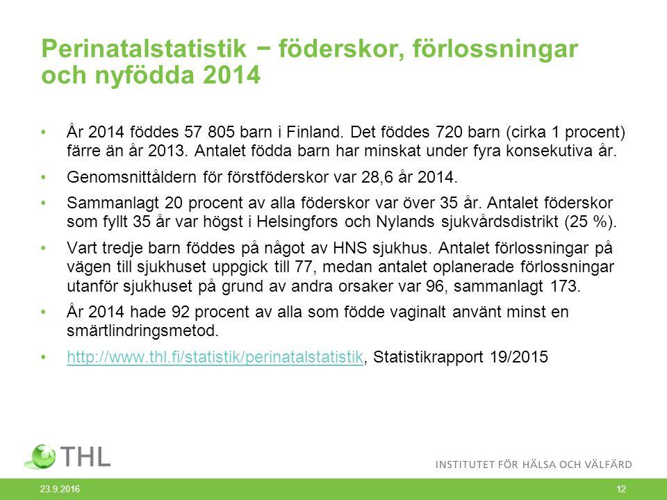 Perinatalstatistik − föderskor, förlossningar och nyfödda 2014 År 2014 föddes 57 805 barn i Finland.