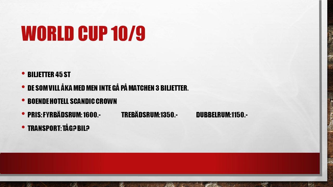 WORLD CUP 10/9 BILJETTER 45 ST DE SOM VILL ÅKA MED MEN INTE GÅ PÅ MATCHEN 3 BILJETTER.