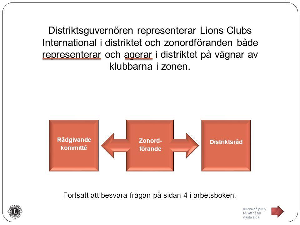 Distriktsguvernören representerar Lions Clubs International i distriktet och zonordföranden både representerar och agerar i distriktet på vägnar av klubbarna i zonen.