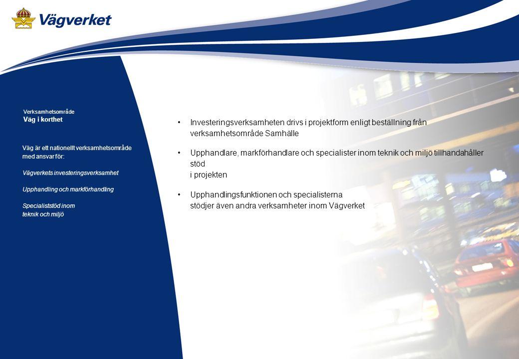 Arbetsmaterial 2008-04-21 Väg är ett nationellt verksamhetsområde med ansvar för: Vägverkets investeringsverksamhet Upphandling och markförhandling Specialiststöd inom teknik och miljö Verksamhetsområde Väg i korthet Investeringsverksamheten drivs i projektform enligt beställning från verksamhetsområde Samhälle Upphandlare, markförhandlare och specialister inom teknik och miljö tillhandahåller stöd i projekten Upphandlingsfunktionen och specialisterna stödjer även andra verksamheter inom Vägverket