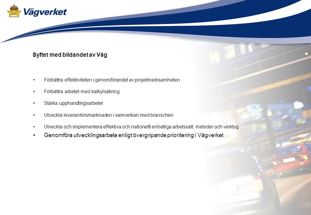 Arbetsmaterial 2008-04-21 Syftet med bildandet av Väg Förbättra effektiviteten i genomförandet av projektverksamheten Förbättra arbetet med kalkylsäkring Stärka upphandlingsarbetet Utveckla leverantörsmarknaden i samverkan med branschen Utveckla och implementera effektiva och nationellt enhetliga arbetssätt, metoder och verktyg Genomföra utvecklingsarbete enligt övergripande prioritering i Vägverket